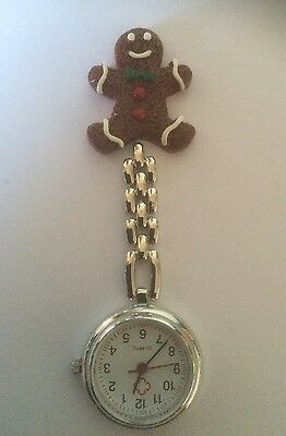 Christmas Gingerbread Man  Handmade Nurse / Vet Nurse / Student Fob Watch.