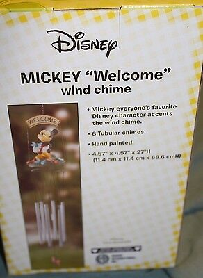 """Disney Mickey Mouse Home & Garden Decor Outdoor Wind Chimes """"welcome"""" Brand New"""