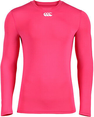 Canterbury Rugby Bright Pink HOT Long Sleeve Baselayer Top - Size Small