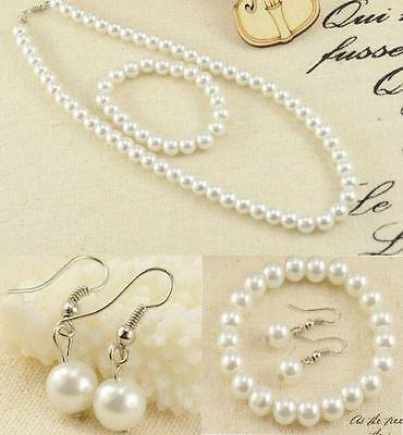 Stunning White Pearl Like Sets,,(Earrings Bracelet And Necklace).bnwt