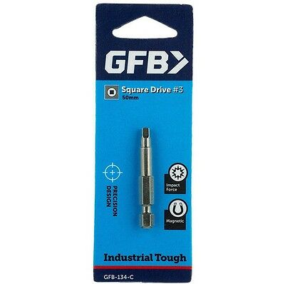 2x GFB POWER SCREWDRIVER BIT 50mm Square Drive#3, Magnetic, Industrial Tough
