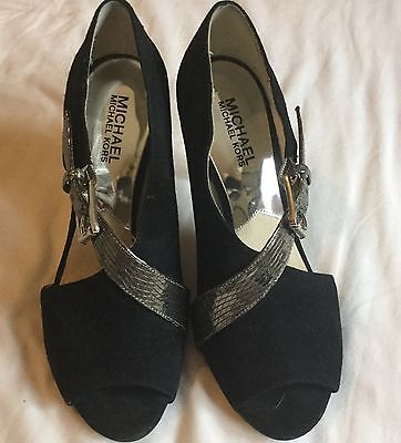 MICHAEL KORS,BLACK SUEDE,PEWTER STRAP  HEELS/SHOES/BOOTS SIZE US 7/uk 5/EUR 38