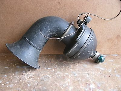 Antique Early 1900's Car Or Truck Horn With Colored Glass Lights