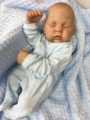 "Full Vinyl Childrens Reborn Doll Real Baby Boy Layton Realistic 16"" Asleep Hair"