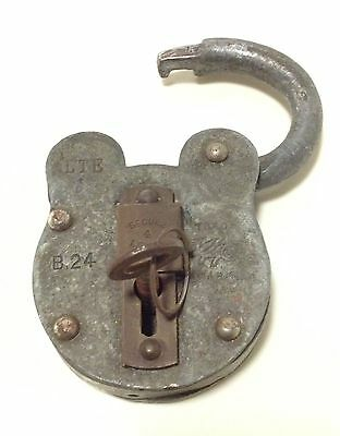 Vintage LTE B24 Secure Four Lever Trap Handmade Metal Padlock with Key Lock