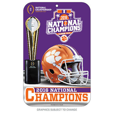 2016 2017 Clemson Tigers National Champion 11x17 Plastic Sign Preorder