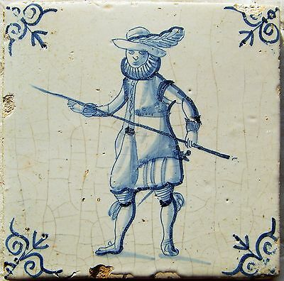2 Antiques Authentic blue and white Delft delftware tiles with Soldiers