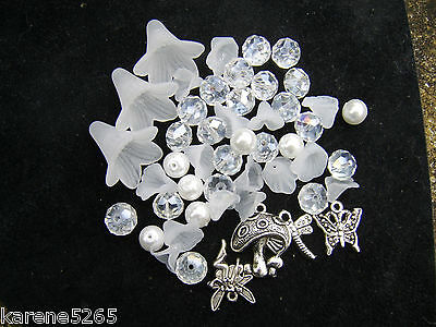 Crystal And Pearl Fairy Dust. Charms, Flowers And Bead Mix X 50 Pieces.
