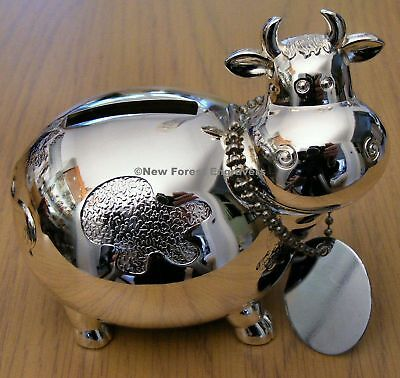 Personalised Engraved Silver Plated Cow Money Box Christening Birthday Gift
