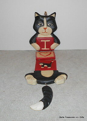 Wood Hanging Hand Made & Painted Cat