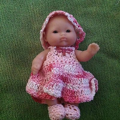 """BERENGUER Doll 5"""" with Super Cute Crochet Outfit DOLL IS INCLUDED!"""