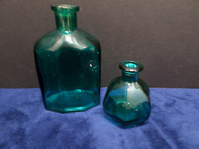 Two Decorative Bottles Blue/Green Colored Glass