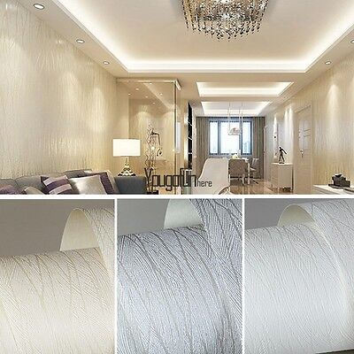 10m Modern 3D Flocking Wallpaper Roll Non-woven Embossed Textured Wall Paper New
