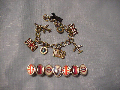 1 Elasticized and 1 Charm Souvenir Bracelet from London England