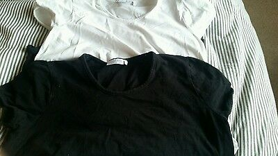 2 next maternity tops size 14 black and white cap sleeved
