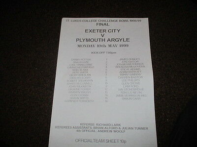 EXETER CITY v PLYMOUTH ARGYLE  ST LUKES COLLEGE BOWL-  10 MAY 1999