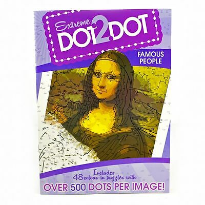 Adults Anti-Stress Famous People Extreme Dot to Dot Colouring Puzzle Book Purple
