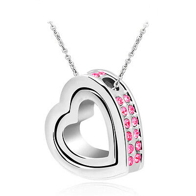 New Pink Rhinestones Silver Plated Love Double Heart Charm Pendant Necklace