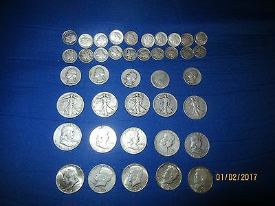 U.S.silver dimes, quarters, fifty cent pieces, 1964 or before