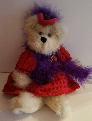 "Heritage Collection by GANZ Bear Doll, 11"" high- Red hat Society look"