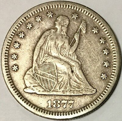 Fascinating XF 1877-S 25C Liberty Seated Quarter with Strong Motto Full Feathers