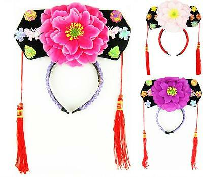 Childrens Girls Chinese Japanese Oriental Qing Dynasty Princess Flower Hairband