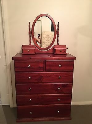 Vintage Rosewood 4 Piece Bedroom Setting - Tall boy, Bedside Tables, Mirror -EUC