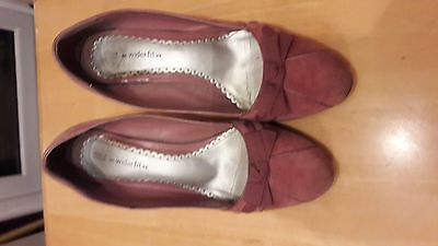 M&s Dusty Pink Ladies Shoes Size 6.5 Wider Fit Spring Summer