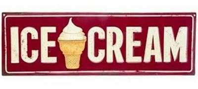 Ice Cream Embossed Metal Sign