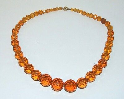 Quality Vintage Art Deco Faux Amber Glass Faceted Graduating Bead Necklace