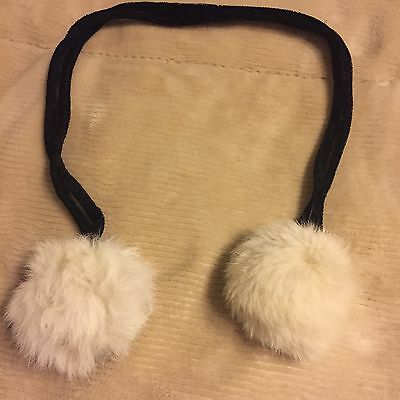 Vintage Retro Double Soft Rope Collar with White Mink Pompom Ends