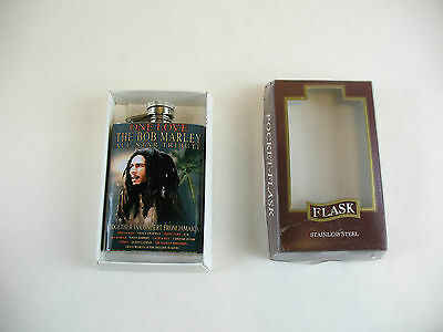 Stainless steel 3 1/2 oz flask with Bob Marley sticker