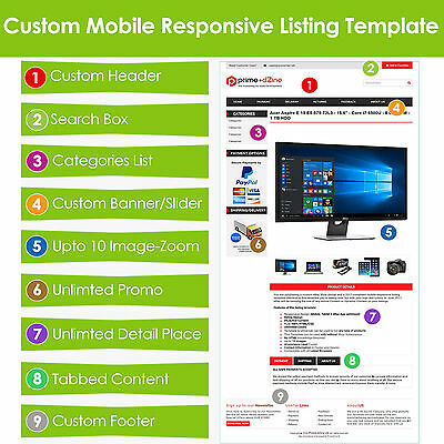 Custom eBay Listing Template Auction HTML Professional Mobile Responsive Design