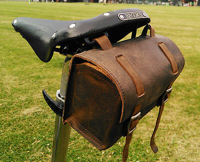 Antique Style Leather Bag for Bicycle / Bike in BROWN BLACK Handlebar Saddle