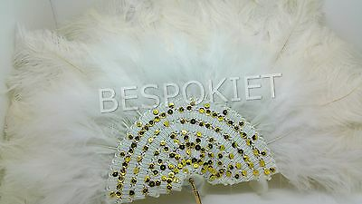 Handmade non-foldable Nigerian wedding ostrich white feather fan