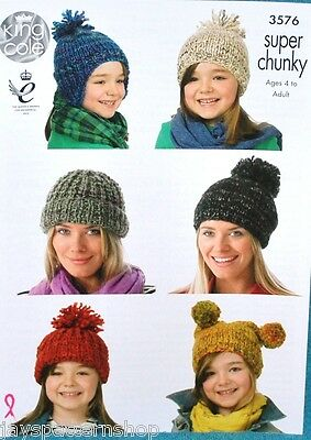 Ladies Childs Super Chunky Knit Easy Assorted Hats Knitting Pattern 4 - Adult
