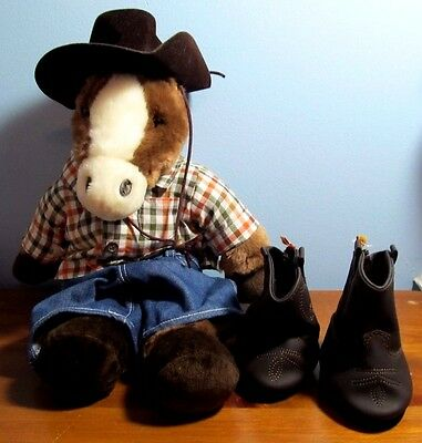 "Build A Bear 18"" Floppy Neighing Horse w Cowboy outfit"