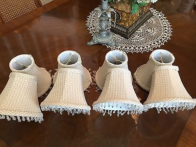 Chandelier Fabric Lamp Shades Bead Trim Set Of 8 Gray & White Weave Pattern
