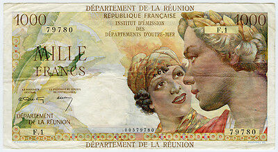 REUNION 1964 ISSUE 1000 FRANCS SCARCE, NICE NOTE CRISP VF-XF.PICK#52a.