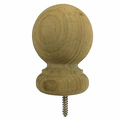 "Small Pressure Treated Wood Ball Top 2.7"" Finial For Fence &Deck Posts - Green"