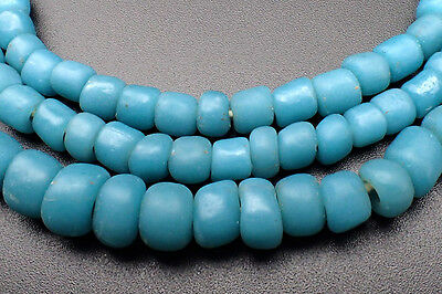 Wonderful Old Indo Pacific Baby Blue Glass Bead Trade Wind Ethnic Strand #4729