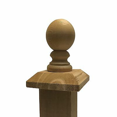 "Cedar Ball Top 3"" Finial with Flat Wood Base Cap, for 4"" x 4"" Fence & Deck Posts"