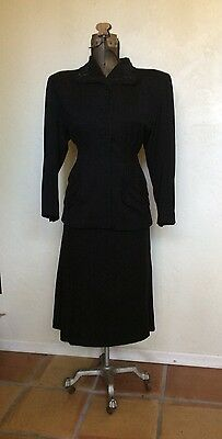 VINTAGE 1940's BLACK WOOL BEADED DRESS SUIT M/L