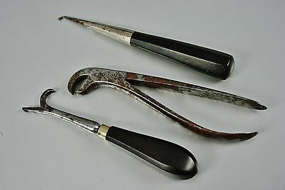 Antique 3 Pcs of French Dental Instruments: Forceps Lever Elevator Signed 19.c
