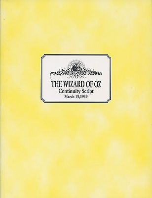 JUDY GARLAND - THE WIZARD OF OZ - Continuity Script March 15th 1939 - C#72