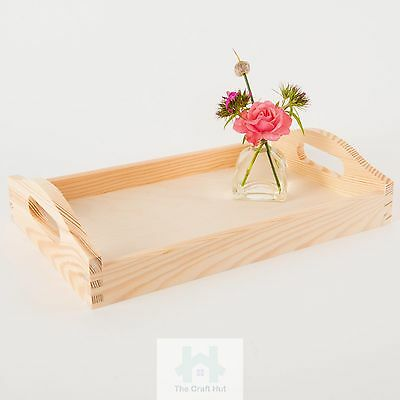 Plain wood-Wooden serving tray, cut out handles breakfast/tea tray 3 sizes TC714