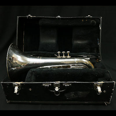BACH MARCHING BARITONE SILVER {ROUGH FINISH BUT PLAYS GREAT} Recent Service