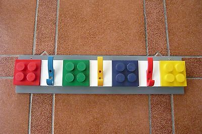Hand-crafted Building Block Style - Brightly Coloured - Childrens Coat Hook