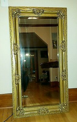 Large Antique Gold Frame Wall Mirror Beveled Glass Baroque