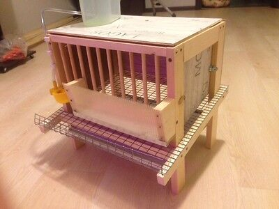 Quail cage homemade wooden with feeder and drinker